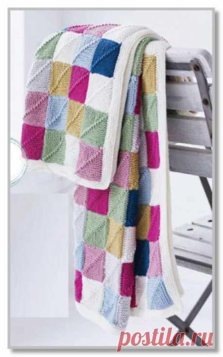 Вязание спицами для интерьера. Описание модели со схемой и выкройкой. Детский плед-одеяло из цветных квадратиков. Размер 116 x 130 см