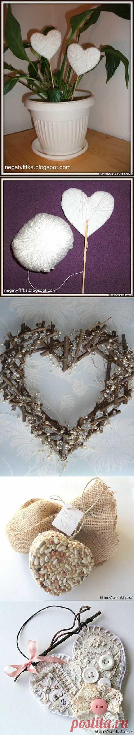 Сердечки шебби шик из пластиковых контейнеров.
