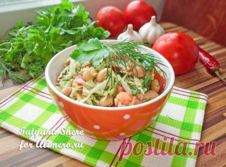 Салат из свежей капусты с фасолью и чесноком / Рецепты с фото