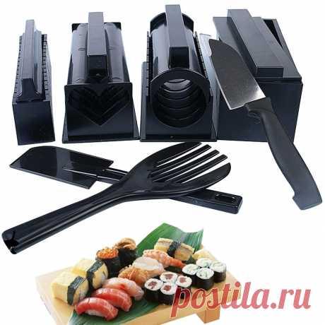 Приспособление для приготовления суши «сделай сам», 10 шт./компл., простая в использовании, форма для риса, набор кухонных инструментов для приготовления суши, рулон кухонных принадлежностей для приготовления суши Инструменты для суши    АлиЭкспресс