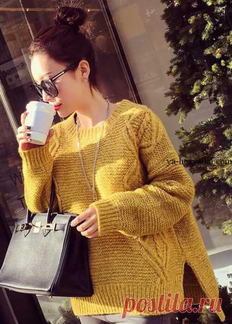 Пуловер с удлиненной спинкой спицами. Схема вязания пуловера спицами Пуловер с удлиненной спинкой связанный спицами. Схема вязания пуловера спицами