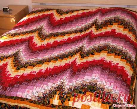 Cover in the Barzhello equipment (Bargello) - Scrappy Sewing - the Country of Mothers