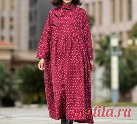 Women Maxi dress, Cotton jujube red dress, Maternity Clothing, Tunic dress 【Fabric】 Cotton Lining Cotton 【Color】  jujube red 【Size】 Shoulder width is not limited Shoulder + Sleeve 70cm / 27 Cuff circumference 27cm/ 11 Bust 120cm / 47 Length 128cm / 50  Have any questions please contact me and I will be happy to help you.