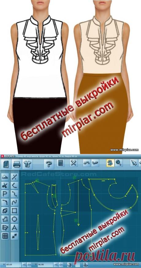 Блузка с глубоким вырезом и воланами-жабо Скачать бесплатные выкройки в натуральную величину на MirPiar.com