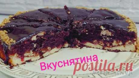Шоколадный пирог с творогом и вишней. Брауни