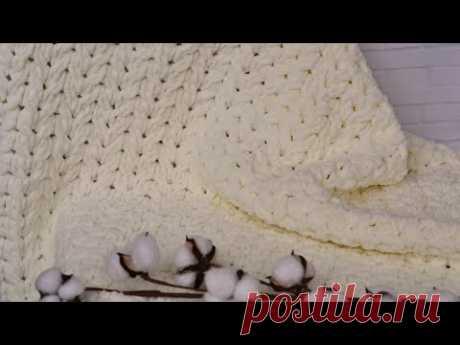 Зефирный плед из Ализе Пуффи Файн. Вязание без спиц и крючка.