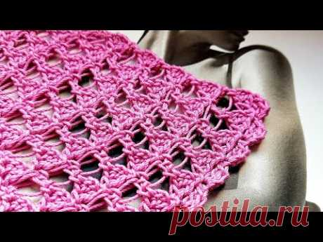 Узор крючком для шалей и бактусов 🌶 crochet pattern.