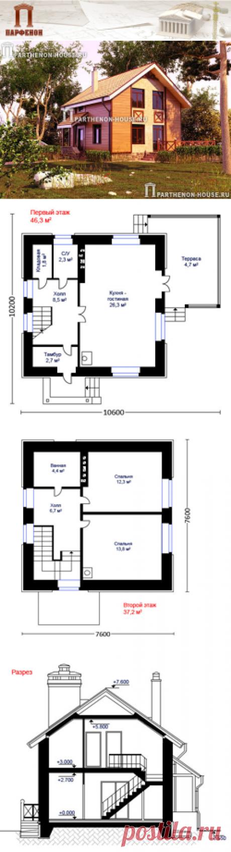 Проект небольшого и рационального дома с мансардой ГБ 84-1  Площадь застройки: 82,00 кв.м. Площадь общая дома: 84,10 кв.м. Площадь жилая: 52,40 кв.м. Строительный объем здания: 376,00 куб.м. Высота 1 этажа: 2,700 м. Высота в мансарде: от 1,390 м. до 2,800 м. Высота дома от конька до уровня земли: 8,250 м.   Технология и конструкция: строительство дома из газобетона. Фундамент: монолитная ж/б плита ребрами вниз.