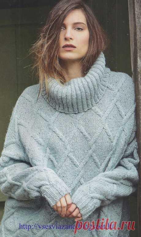 ВСЕ СВЯЗАНО. ROSOMAHA.: Гольф-наволочка с плетеным узором.
