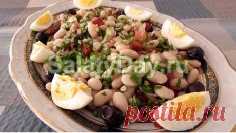 Салат с белой фасолью консервированной - сытное блюдо: рецепт с фото и видео