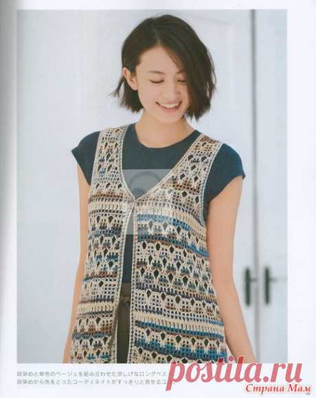 . An openwork vest - All in openwork... (knitting by a hook) - the Country of Mothers