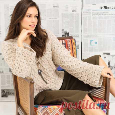 Просторный пуловер с узором из ромбов - схема вязания спицами. Вяжем Пуловеры на Verena.ru