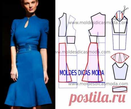 """Платье с клиньями """"годе"""" и рукавами """"фонарик"""" - моделирование по базовой выкройке. #простыевыкройки #простыевещи #шитье #платье #моделирование"""