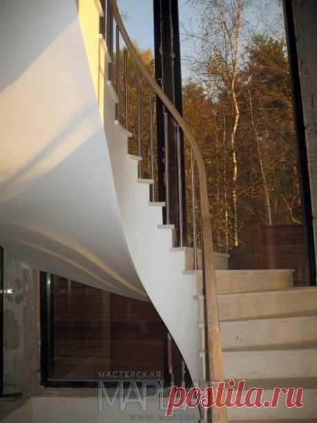 Лестницы, ограждения, перила из стекла, дерева, металла Маршаг – Нержавеющие балюстрады для бетонных лестниц