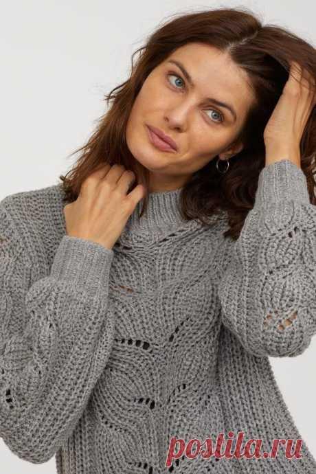 Красивый пуловер спицами со схемой узора