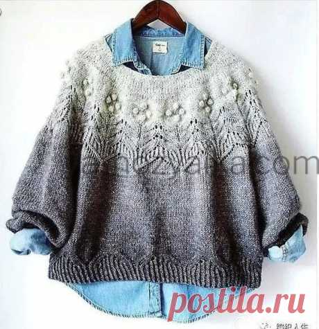 Пуловер с красивой кокеткой спицами. Пуловер спицами из секционной пряжи Пуловер с красивой кокеткой спицами. Модель пуловера спицами из секционной пряжи