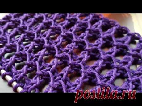 Вяжем филигранный сетчатый узор 👏📌 knitting pattern.