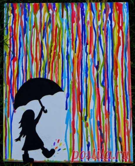 Нетрадиционные техники рисования: девочка с зонтом под разноцветным дождем — Поделки с детьми