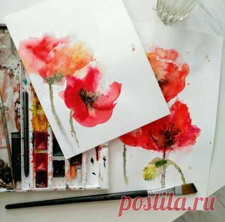 ВИДЕО: акварельные цветы. | Уроки рисования & Арт-терапия | Яндекс Дзен