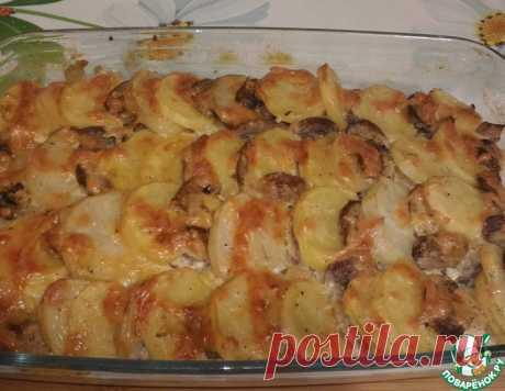 Мясо, запечённое с картофелем и грибами – кулинарный рецепт