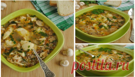 Ароматный гречневый суп с грибами и картофельными клецками    Наслаждаемся вкуснятиной!          Ингредиенты: вода — 1.5-2 литрагречка — 1\3 стаканаполовина небольшой курицы или куриная грудка1 луковица1 небольшая морковь1 лавровый листзелень петрушки по вкус…