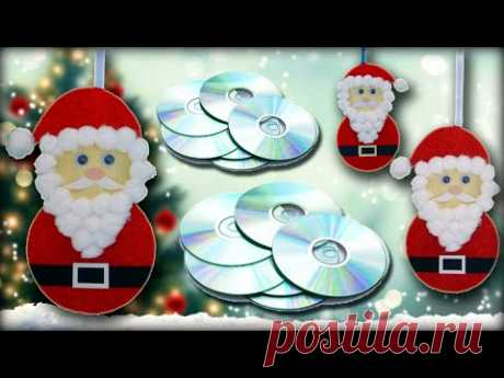Santa Claus Wall Hanging from CD | Christmas Decoration Ideas | Christmas Craft Ideas