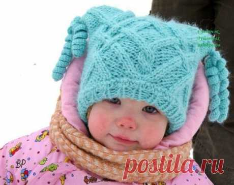 Зимняя детская шапочка с ушками и игривыми кисточками (Вязание спицами) | Журнал Вдохновение Рукодельницы