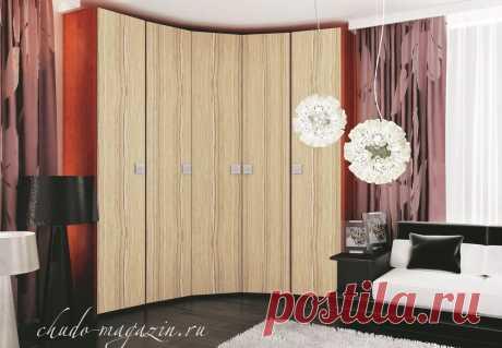 Современный угловой шкаф в спальню; шпон, фото, внутренне наполнение