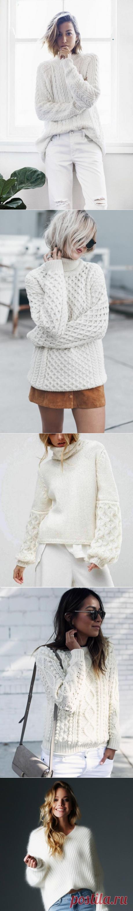 20 идей белых свитеров, которые стоит связать к зиме. | Вязалкина | Яндекс Дзен
