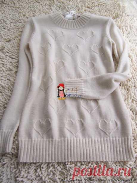 Сердечный узор спицами, подойдет для свитера/кофты/пуловера/платья
