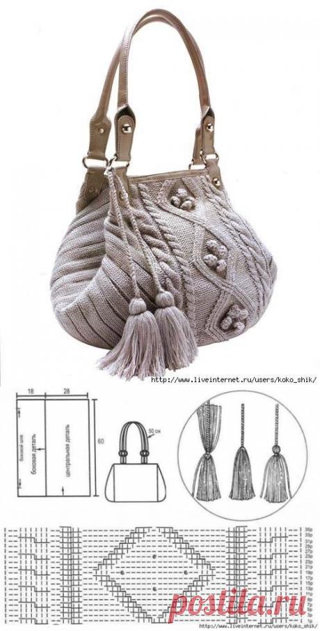 Стильная сумочка, вязанная спицами