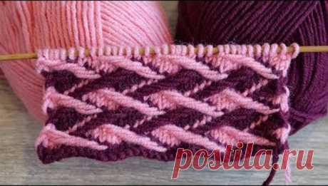 Очень плотный двухцветный узор спицами «Плетенка» (УЗОРЫ СПИЦАМИ) Очень плотный двухцветный узор спицами «Плетенка», выполнен ленивым жаккардом Двухцветный узор спицами Для вязания узора выберите 2 цвета нити А и В. Нитью А набрать количество петель кратно 8 + 2 …