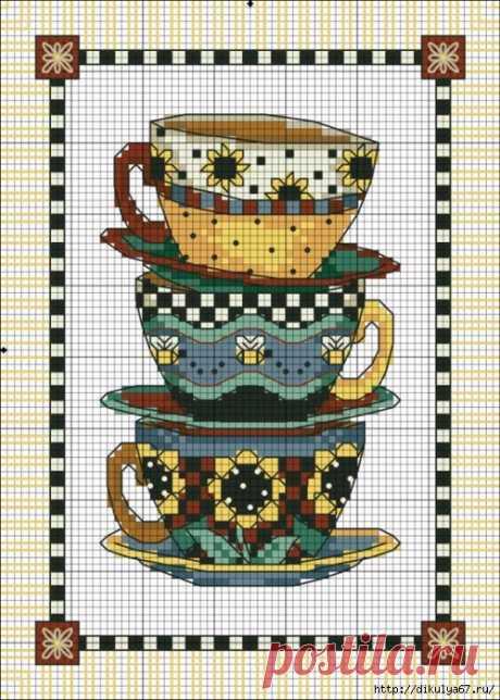 Чайная вышивка крестиком