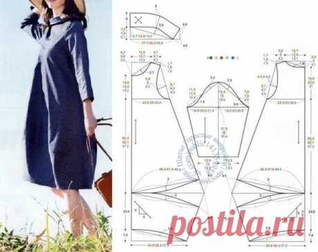 Платье-кокон с воротником-стойкой, выкройка на размеры S, M, L. #простыевыкройки #простыевещи #шитье #платье #выкройка #бохо