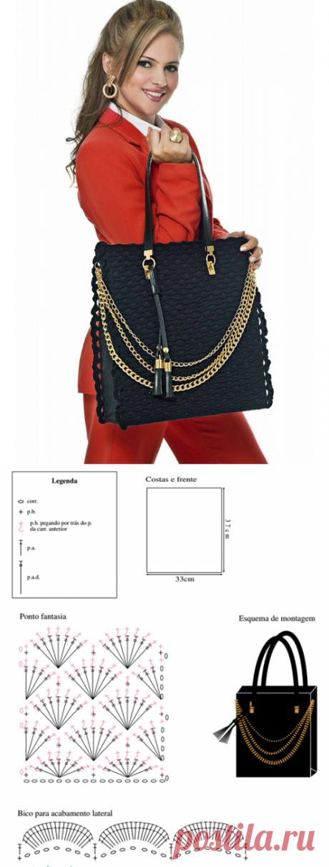 Классные вязаные сумки со схемами.Подборка.