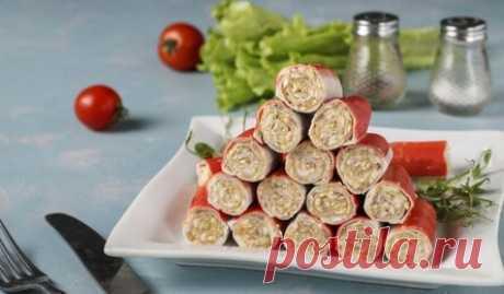 Фаршированные крабовые палочки с печенью трески. Классная закуска на праздничный стол
