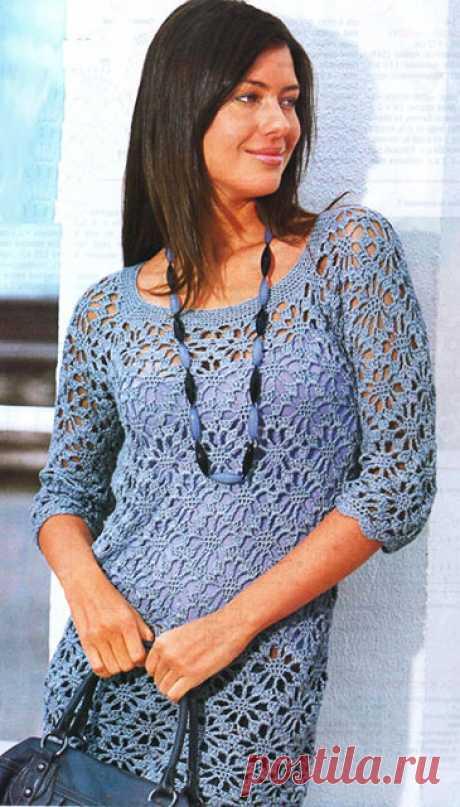 Летний пуловер узором Георгины с прямоугольной горловиной крючком – схема и описание
