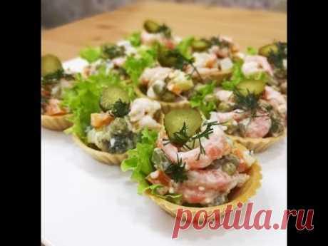 Салат на Новый год Оливье с креветками Постный салат на Новый год