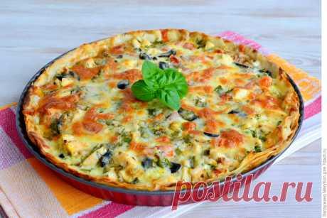 Открытый пирог (киш) с курицей, зеленью и сыром - Журнал для женщин
