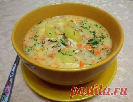 Настоящий болгарский сырный Суп с куриным Филе