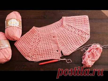 Жакет  - реглан крючком 🌸 Crochet Jacket - raglan for girls