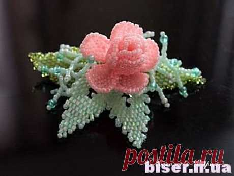 Pink bud from beads how to spin from beads flowers, leaflets from beads, a rose from beads a master class, it is effective and easy for beginners