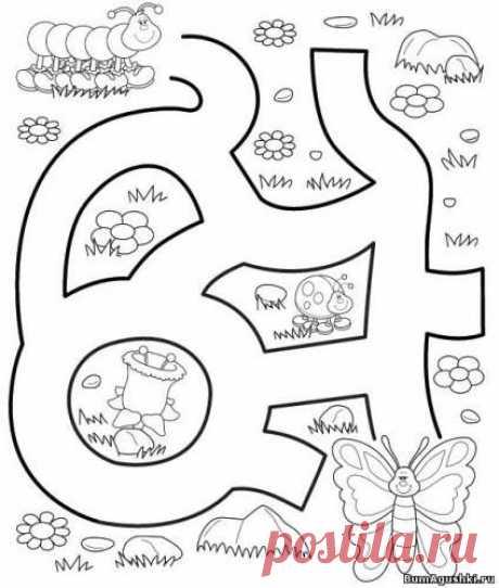 Дорожка к бабочке - Лабиринты - Дошкольное развитие ребенка - БумАгушки - детские раскраски и многое другое