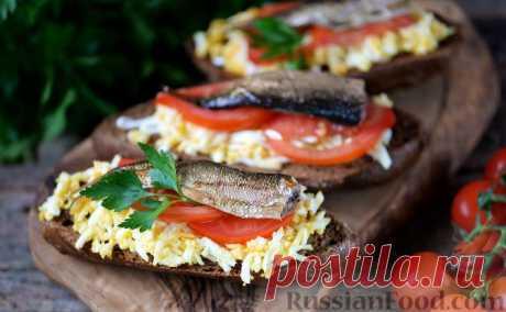 Recipe: Toasts with sprats on RussianFood.com