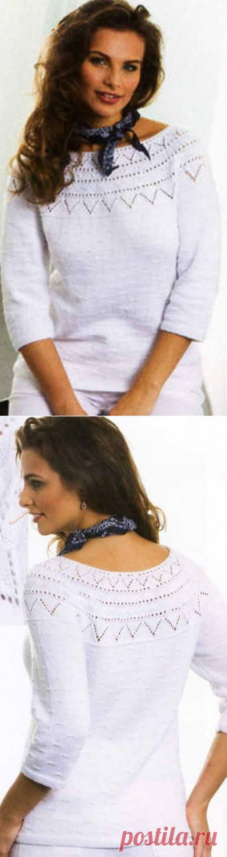 Белый пуловер с ажурной кокеткой (спицами)   АЖУР - схемы узоров