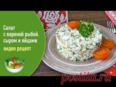 Салат с вареной рыбой, сыром и яйцами — видео рецепт - YouTube