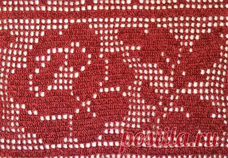 Филейное вязание - полосы из роз - Lilia Vignan Подборка схем филейного вязания - полосы из роз.
