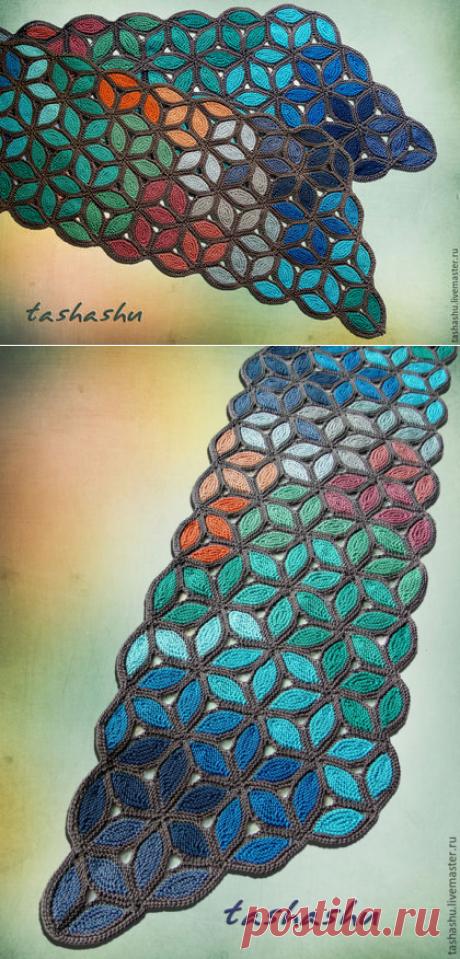 Купить Шарф Мурано - разноцветный, абстрактный, коротние ряды, необычный шарф спицами, мурано