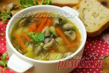 Грибной суп с чечевицей, рецепт