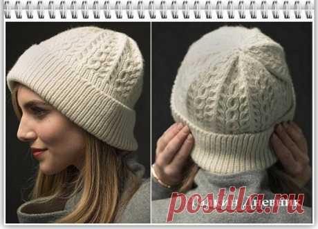 Красивая шапка спицами для женщин